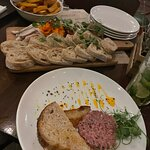 bread meat platter and tartare