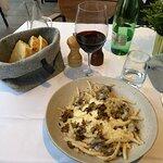 Pasta with a light cream sauce, beef, black truffles & parmigiana