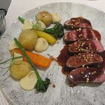 Lamb sirloin with root vegetables and rosemary