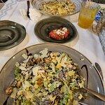 Chicken Caesar salad & Penne con chicken
