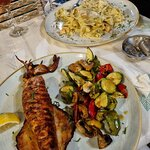 Grilled Kalamari with grilled vegetables & Pappardelle with salmon