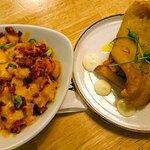 "Loaded potatoes and ""tempura haddock"""