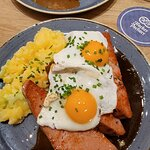 Meatloaf with potato salad and eggs.