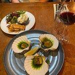 Starters - mackerel pate & scallops