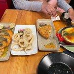 Garlic prawns, Calimari, Spanish omelette & Baked aubergines