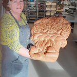 Gillian the owner at 9.30 am with the fresh baked loaf.