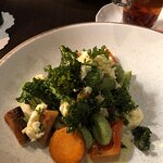 Spinach gnocchi with Jerusalem artichokes, smoked cheese, and autumn vegetables - broccoli, carr