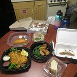 Our take out meal. Fried Flounder dinner, Italian Stromboli, Cannoli and Cheesecake.