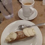 The most delicious Cannoli and coffee.