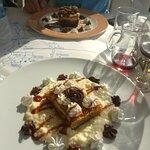 Beautiful desserts - banoffee pie and Rizogalo (i think)