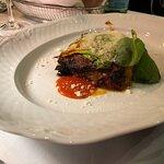 Lasagna with eggplant and squash blossoms