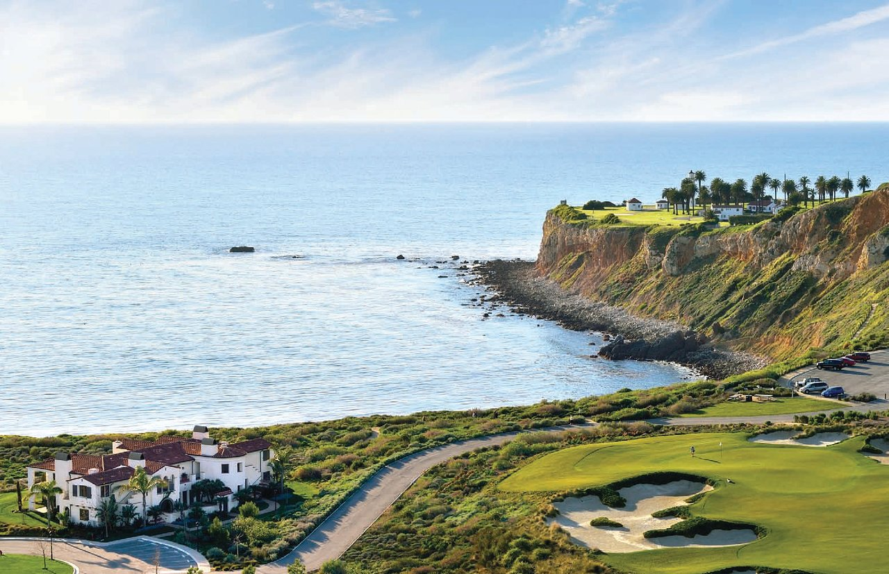 Commercial Hotel structure on a golf course at the Pacific edge