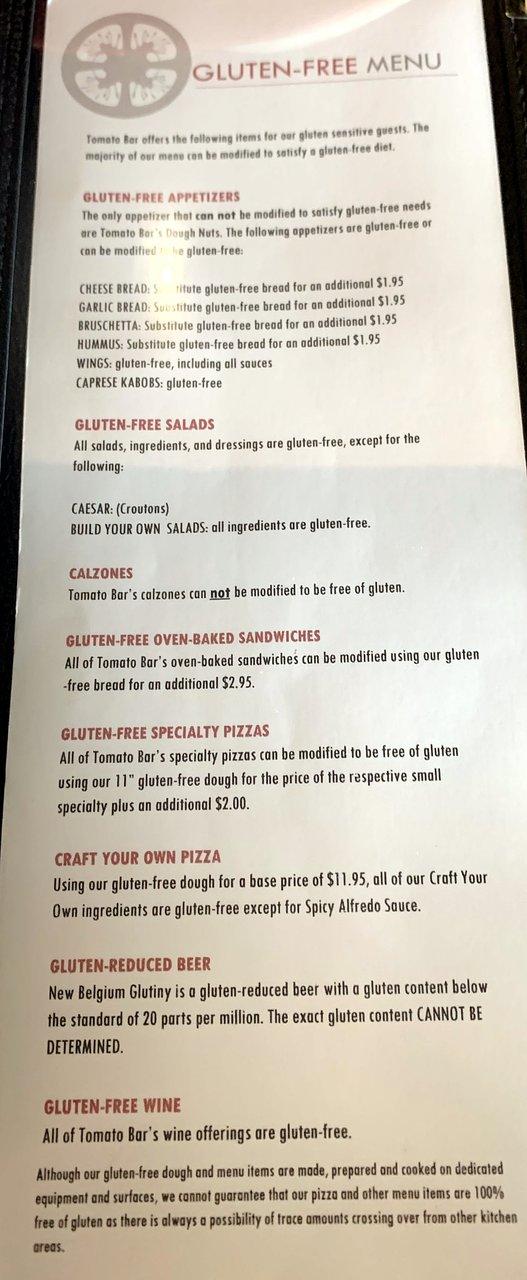 gluten-free menu & more