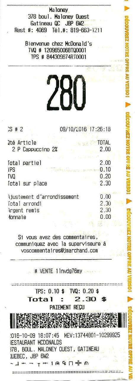 9 octobre 2016 / Deux petits cappuccinos à $1.00 chacun