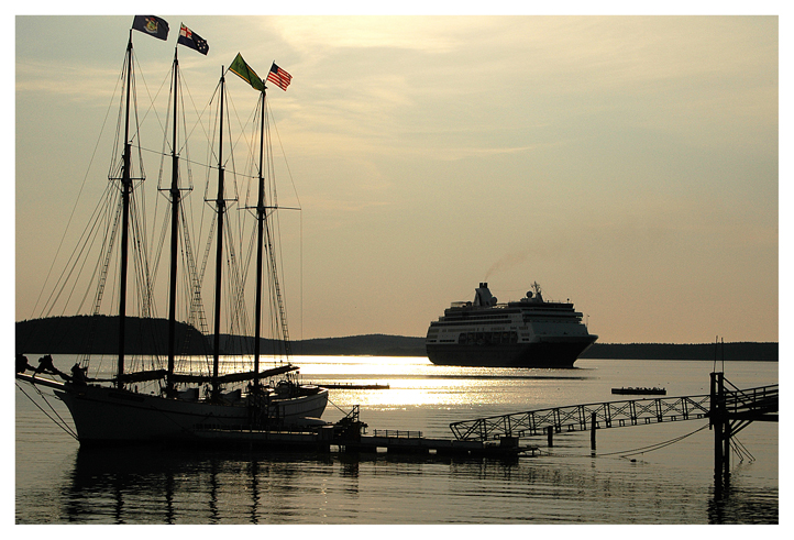a sail boat and a cruise ship in bar harbor