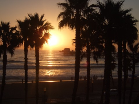 Sunset at a surf competition in Oceanside.