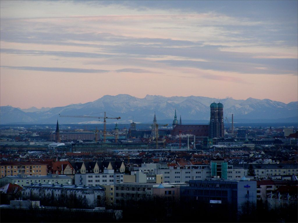 View on Munich with Alps