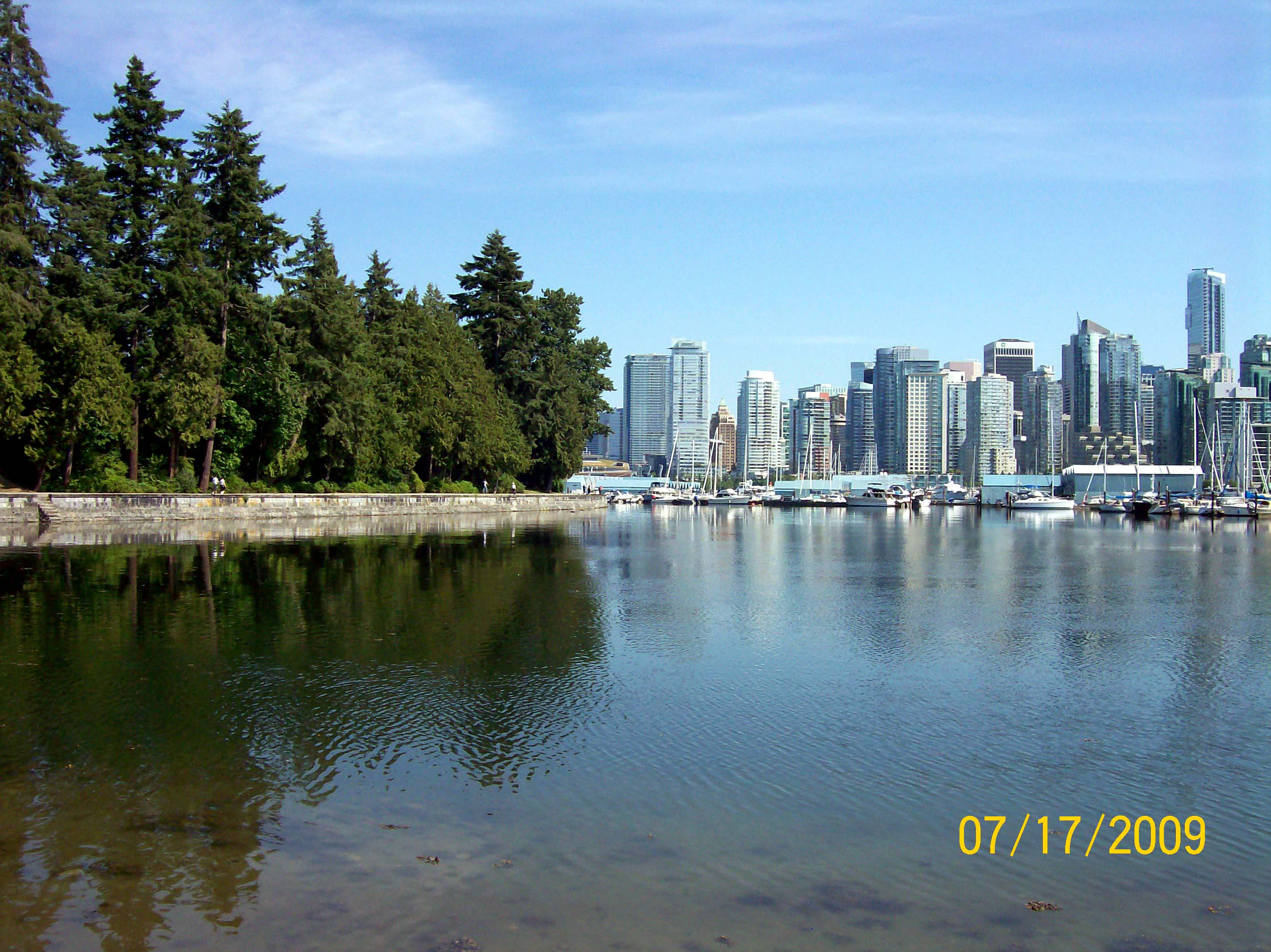 View of the Vancouver skyline from Stanley Park