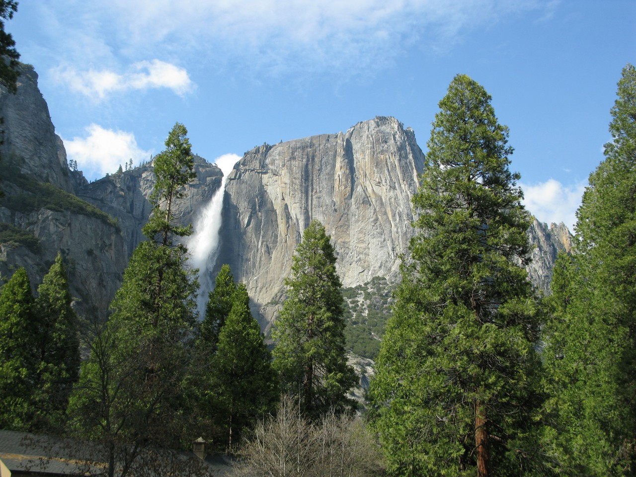 one of the many waterfalls in Yosemite Valley