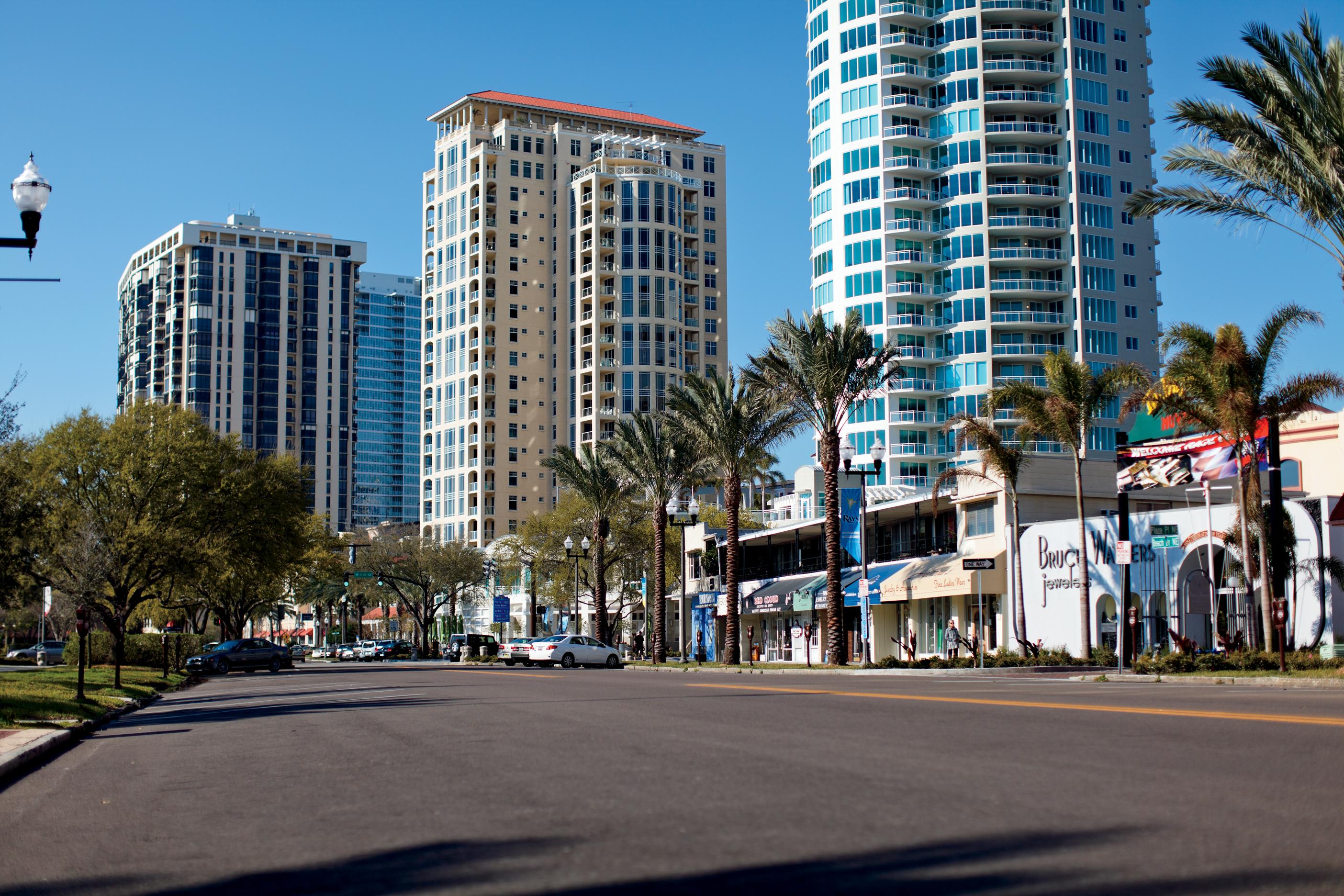 Shops and restaurants line downtown St. Pete's Beach Drive.