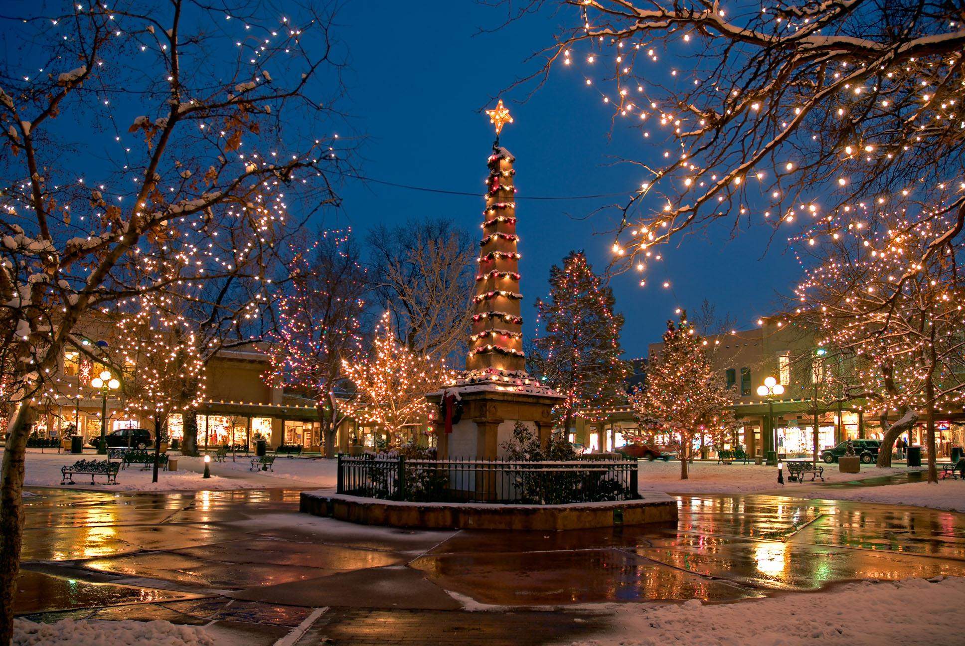 Santa Fe Plaza during Christmas