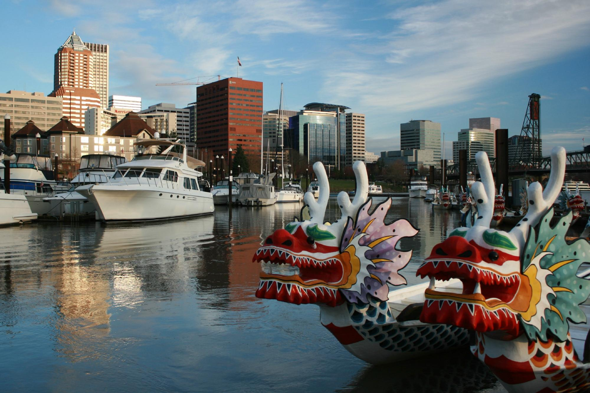 Dragon boats on Willamette River