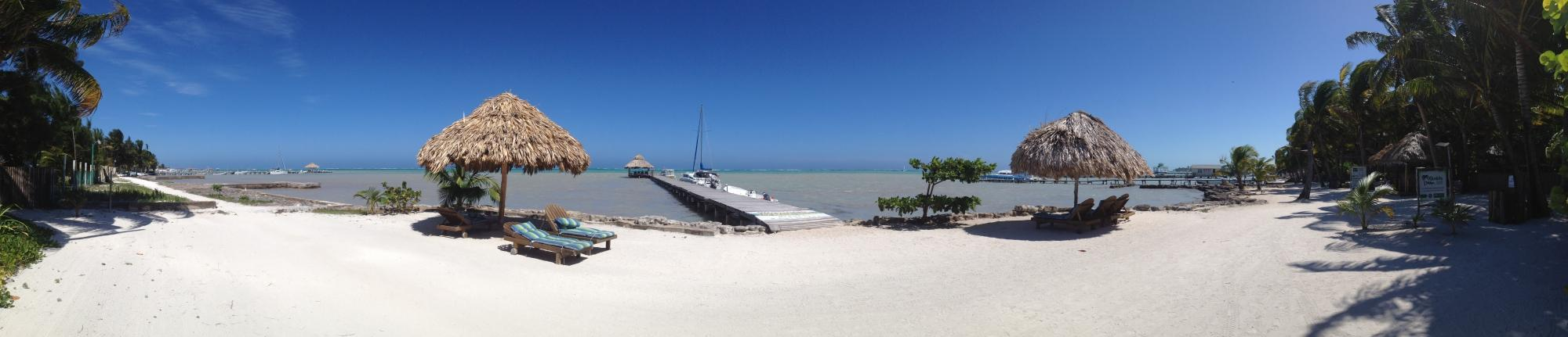 Panorama of the beach/pier from unit No. 1 patio