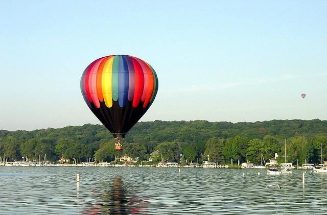 Hot Air Balloon Over Lake Geneva