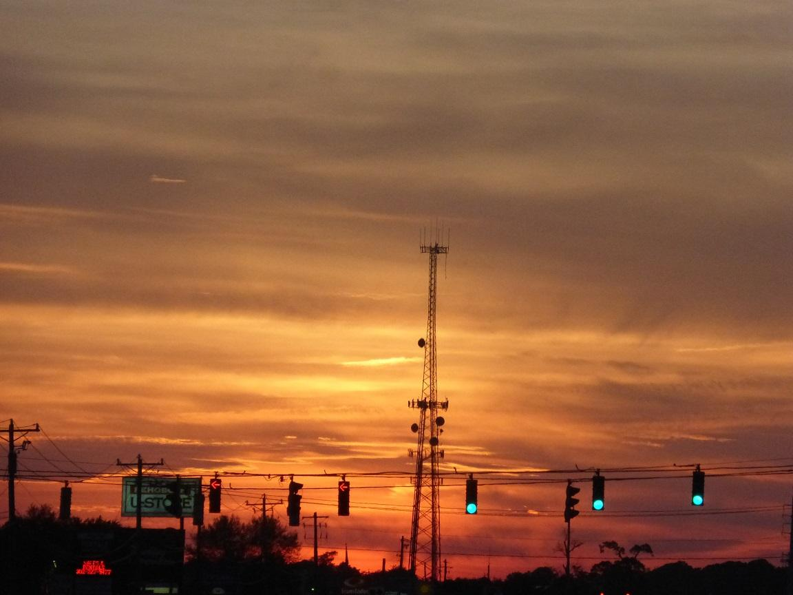 Sunset Highway One headed North out of Rehoboth