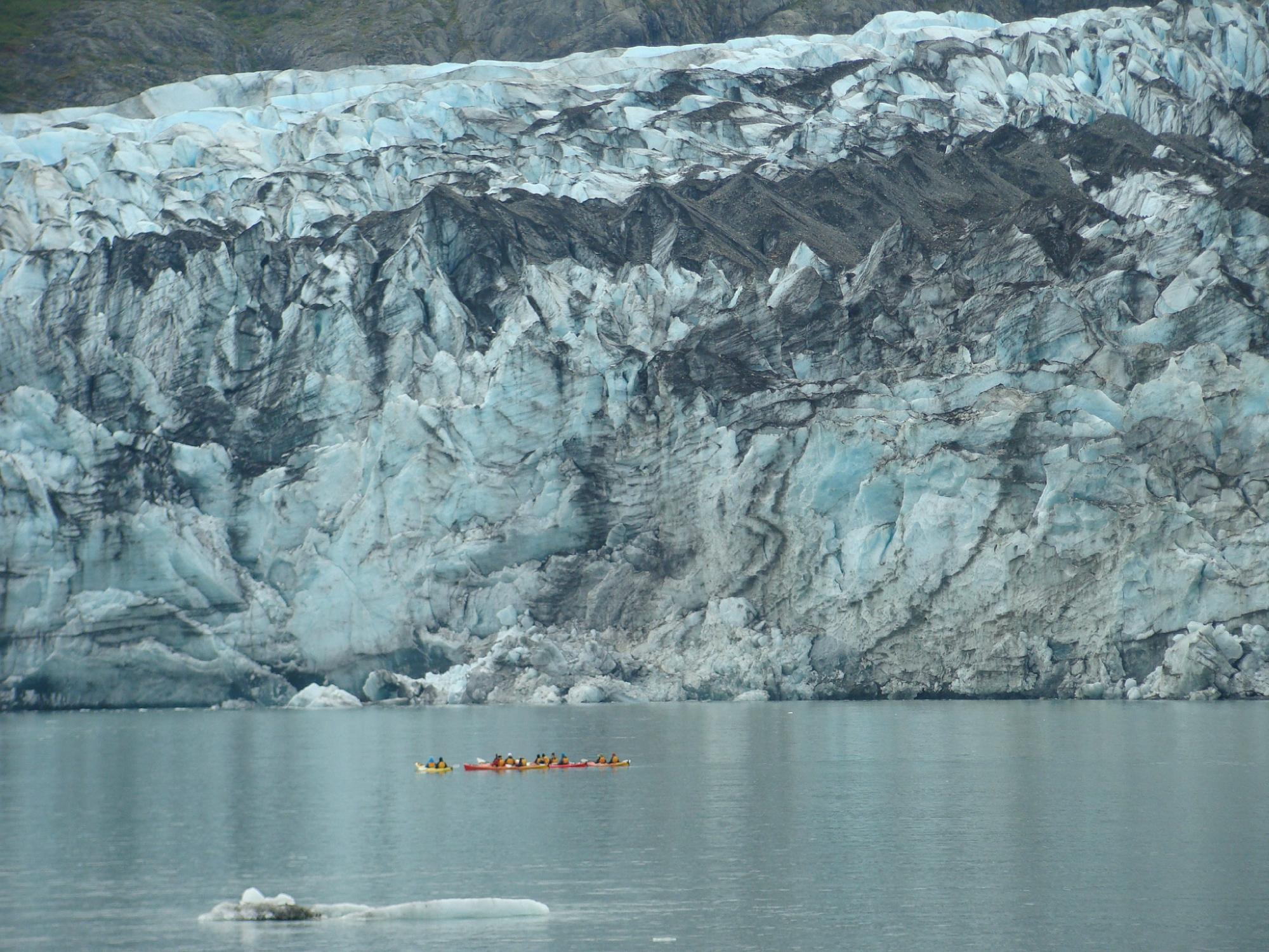 Glacier with kayaks in front (tiny!)