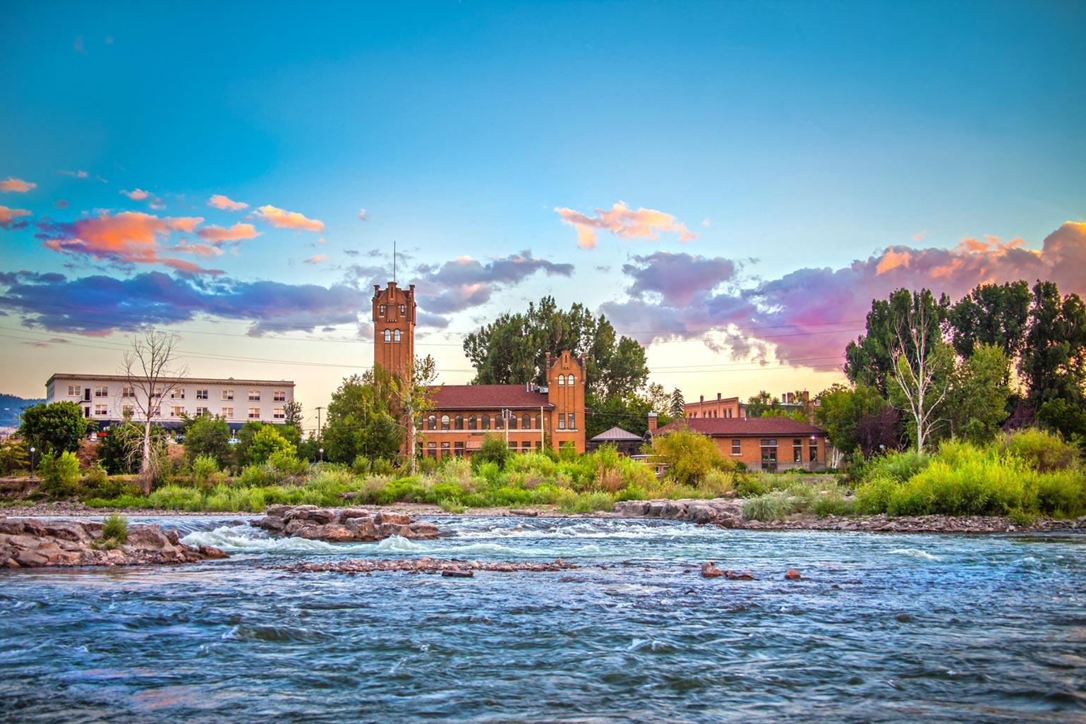 A view of the Clark Fork River through Downtown Missoula
