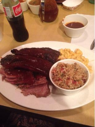 Beef ribs and Brisket with 2 sides- $15