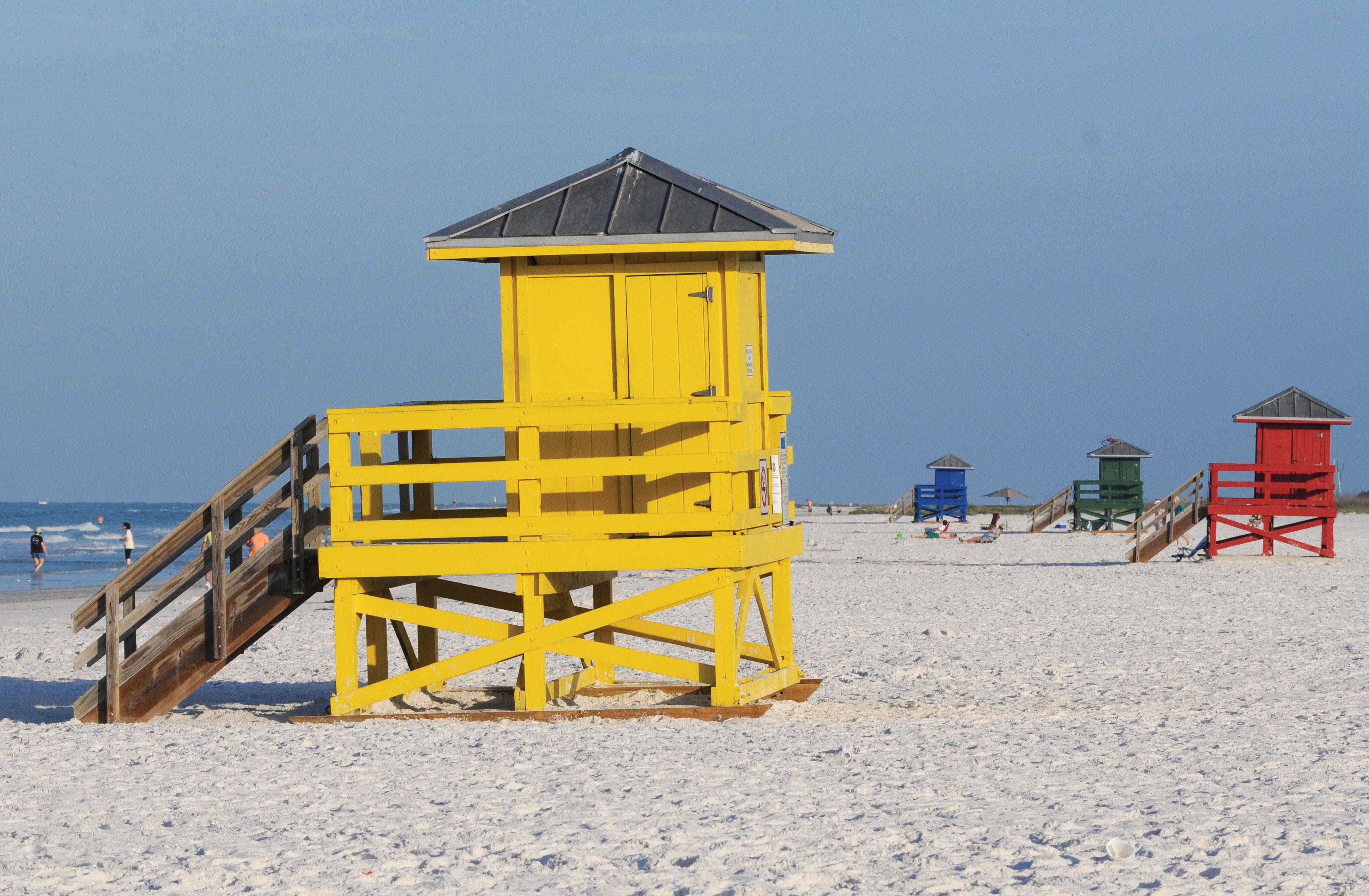 Colorful lifeguard stands add to the beauty of Siesta Key.