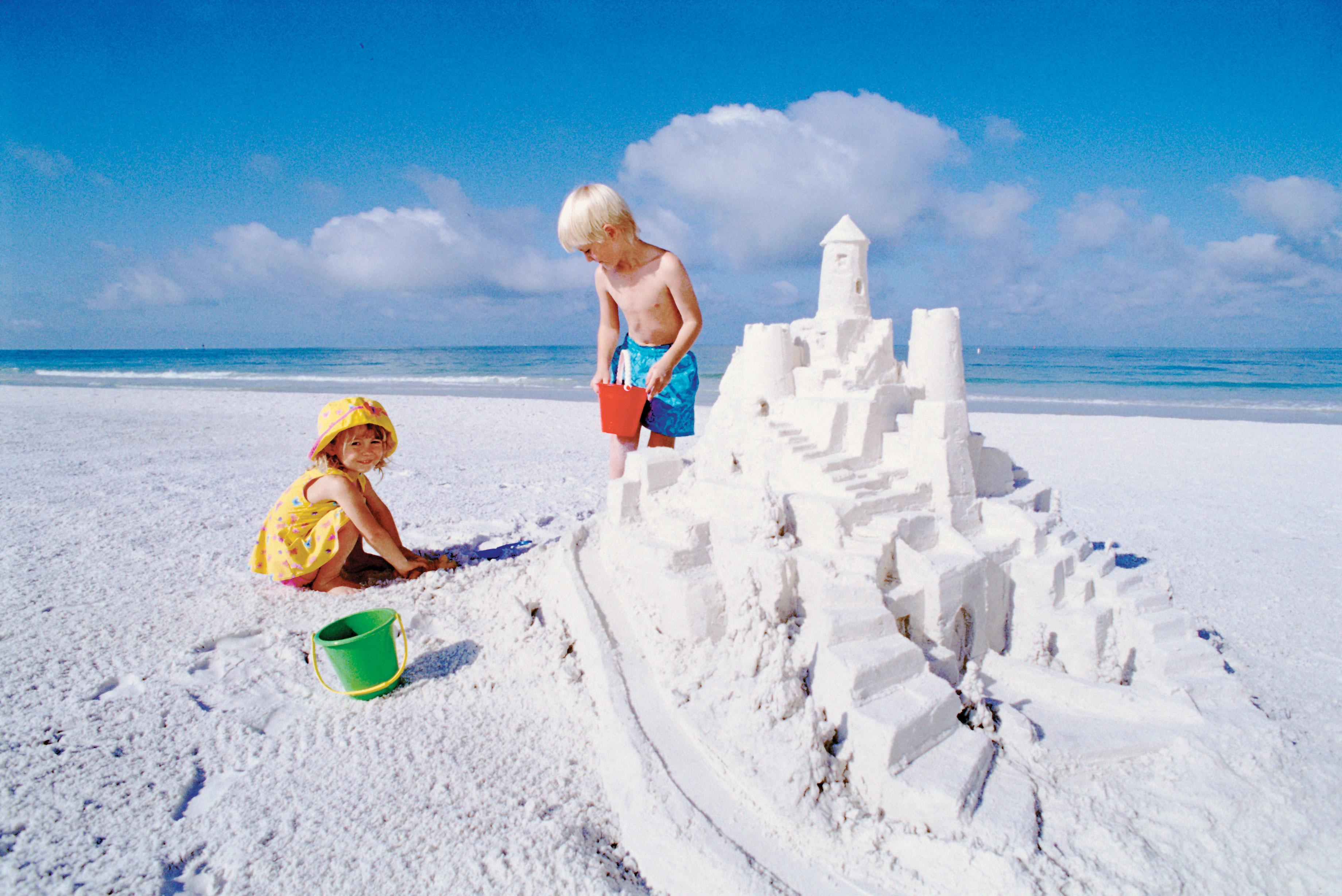 The powdery white sand of Siesta Key is perfect for building sandcastles.