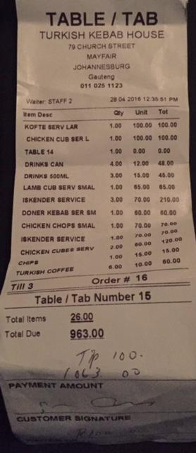 The bill - 10 people