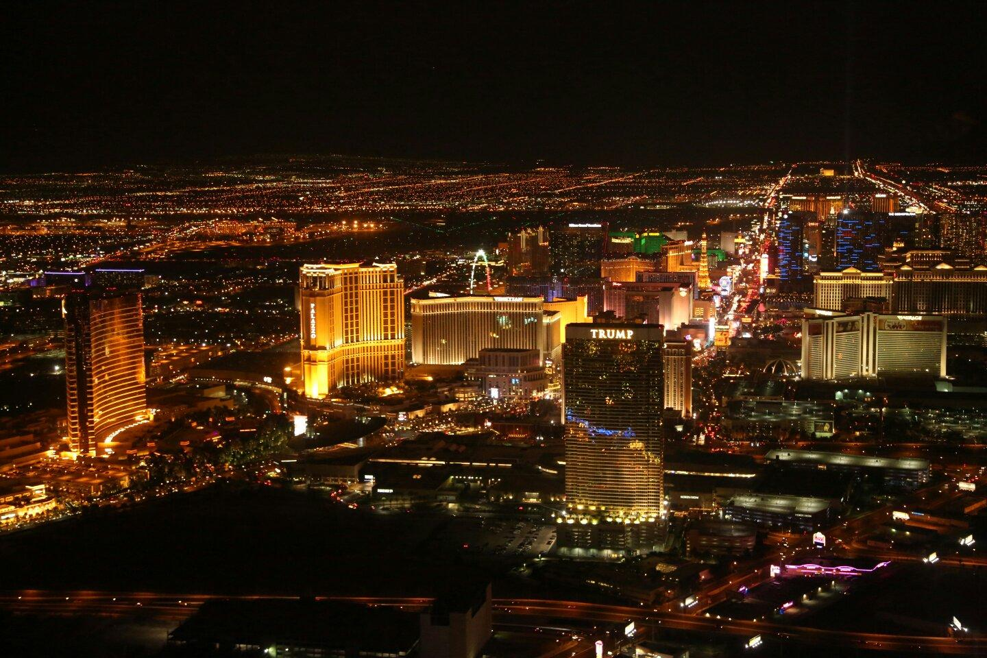 Vegas at night from helicopter