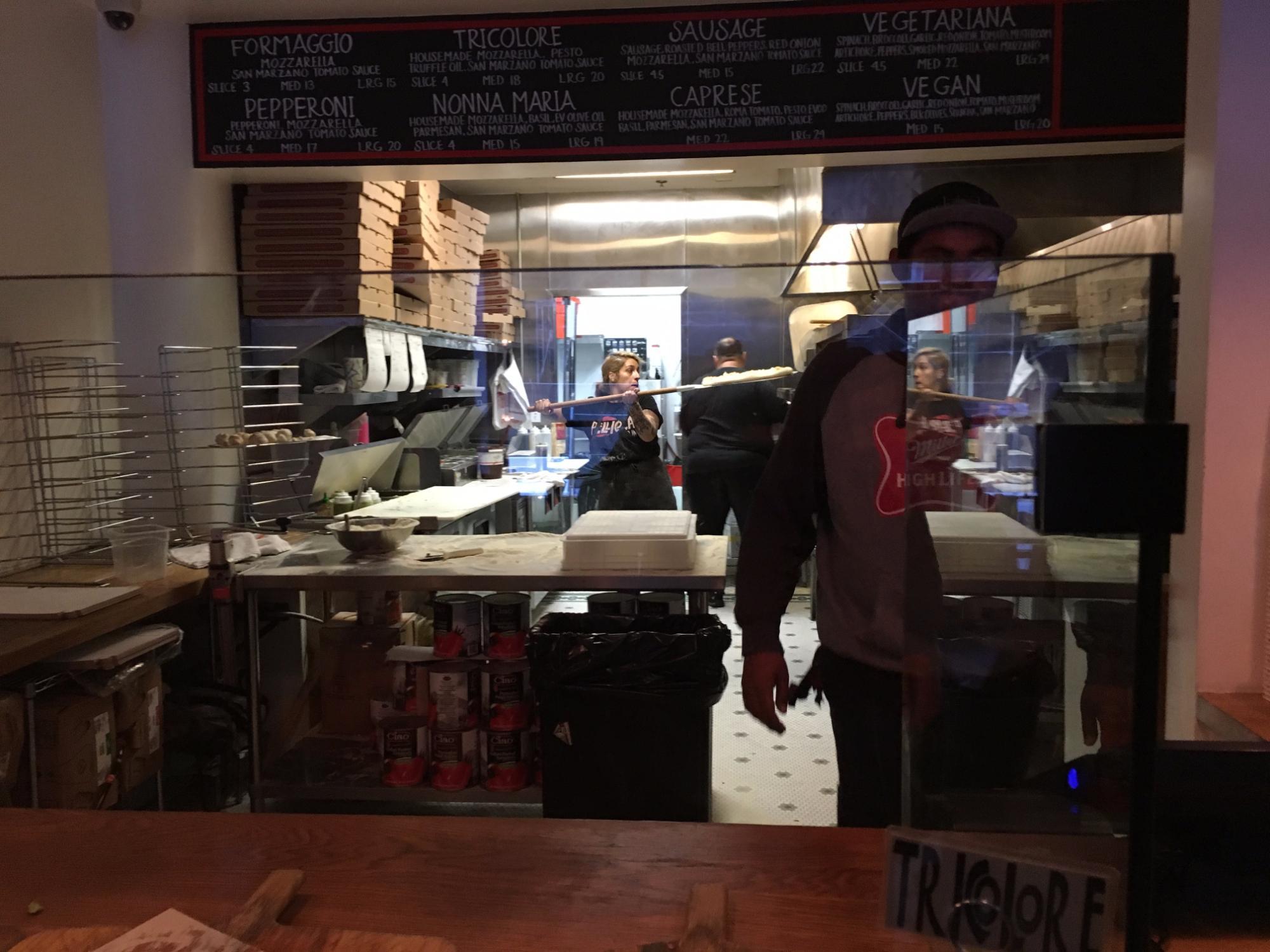 Upper Level of Pellicola Pizzeria looking into kitchen