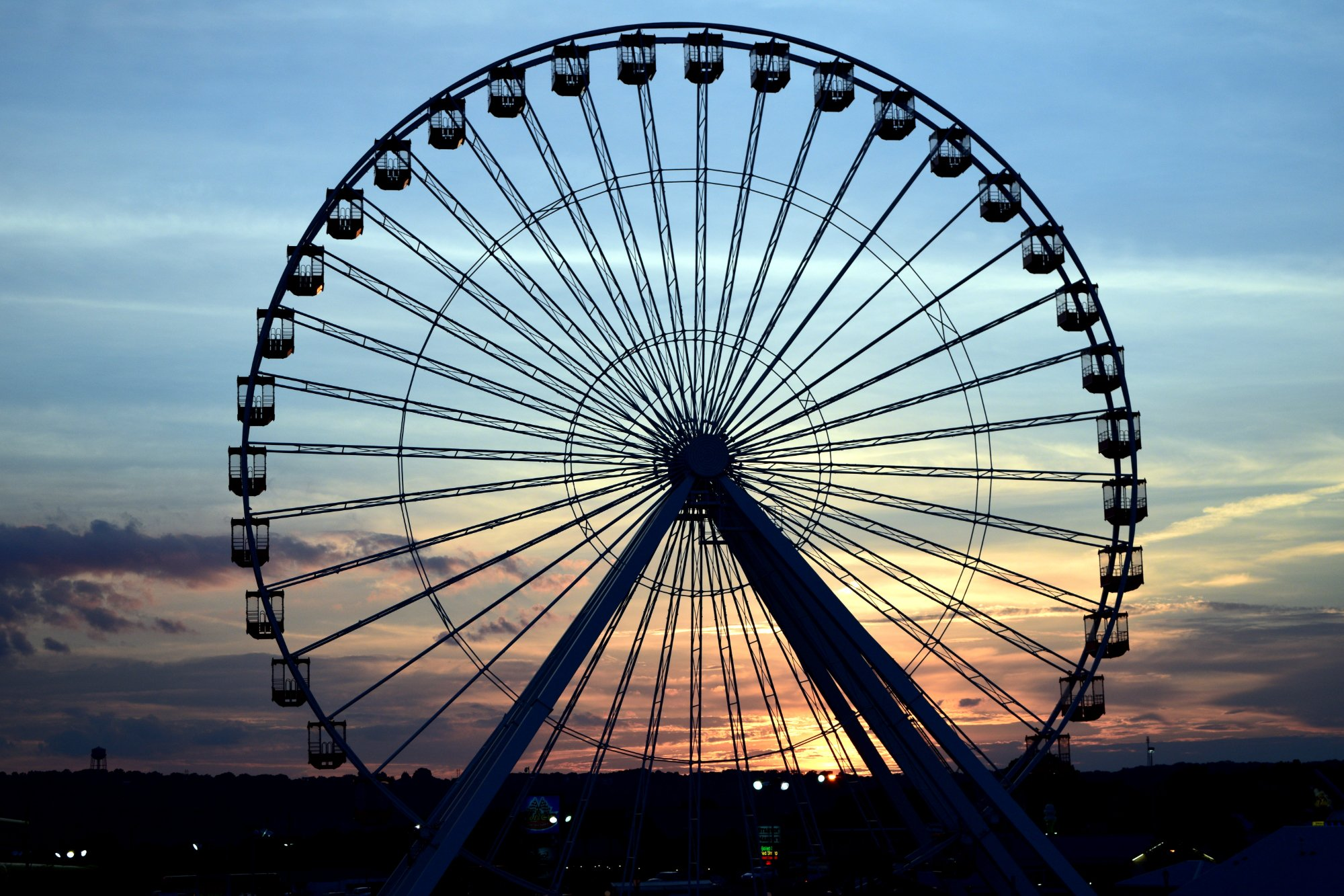 Branson at sunset is just beautiful. This was taken near the new Ferris Wheel on the Strip.