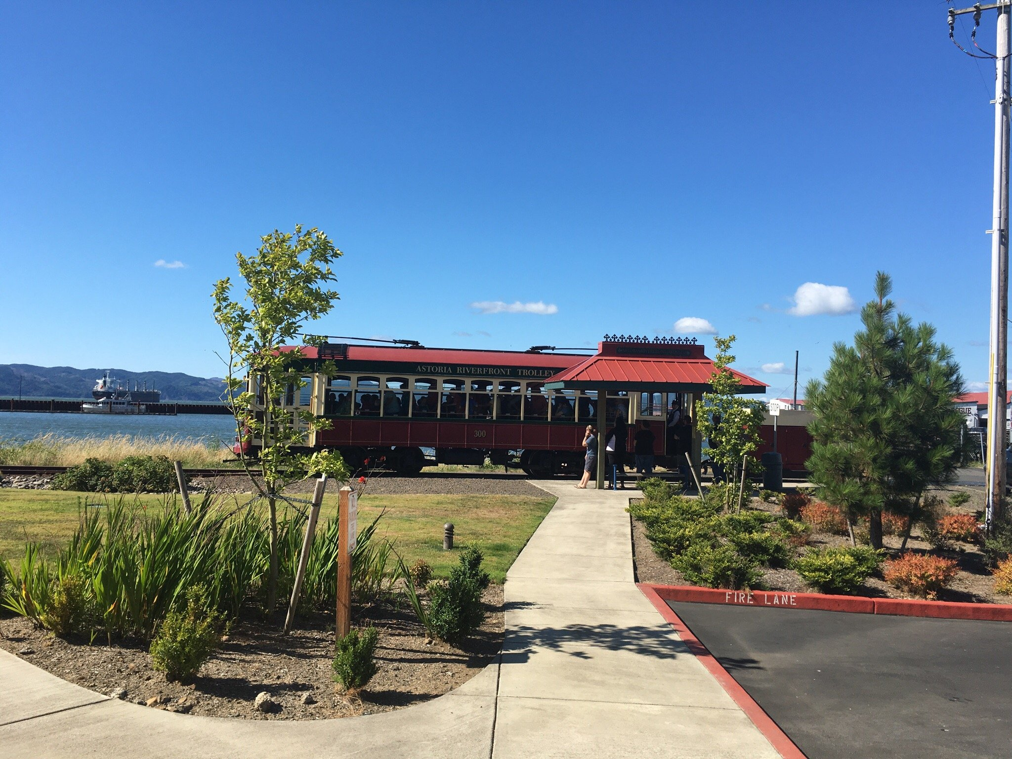 Astoria, site to see . Fort Clastop, Lewis and Clark Monument and Trolley car.