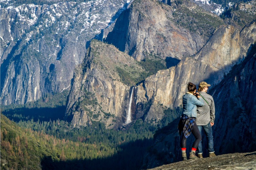 A perfect view of Bridalveil Falls from lower Turtleback Dome