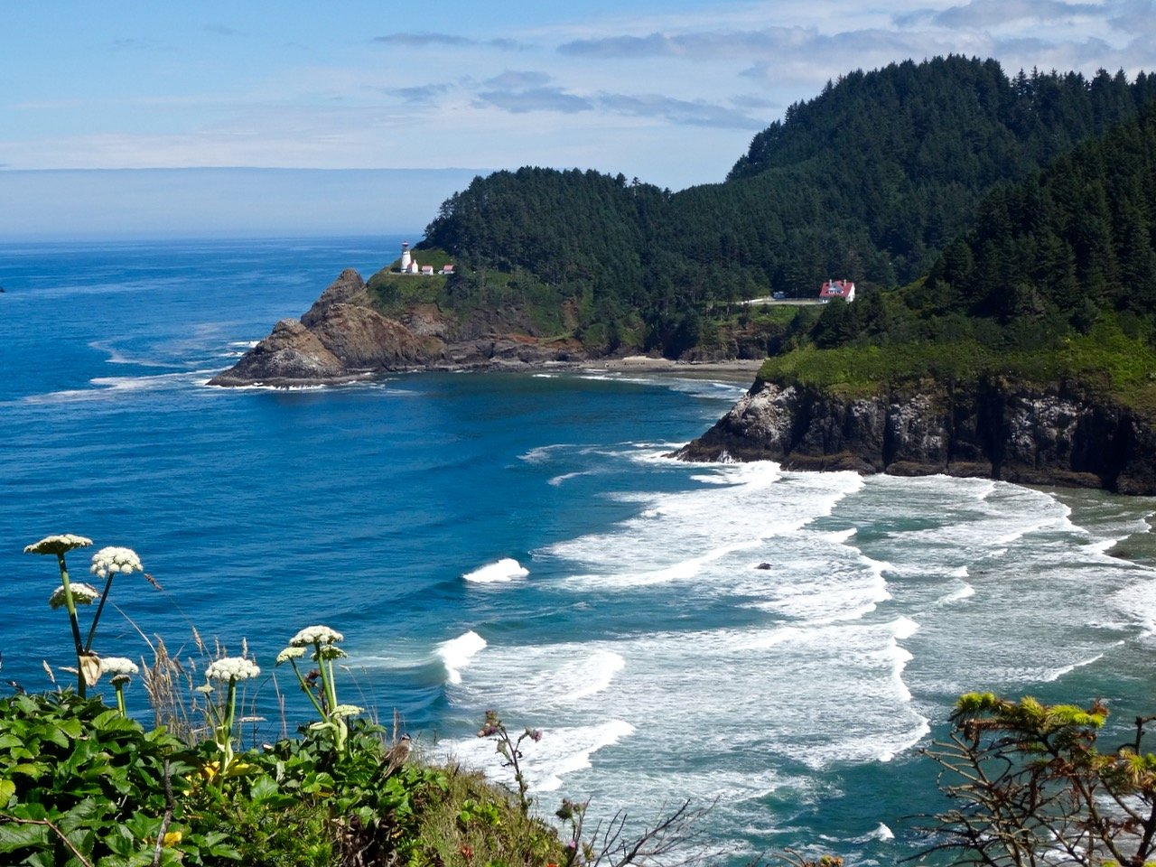 Closer View of Heceta Head Lighthouse and Beach