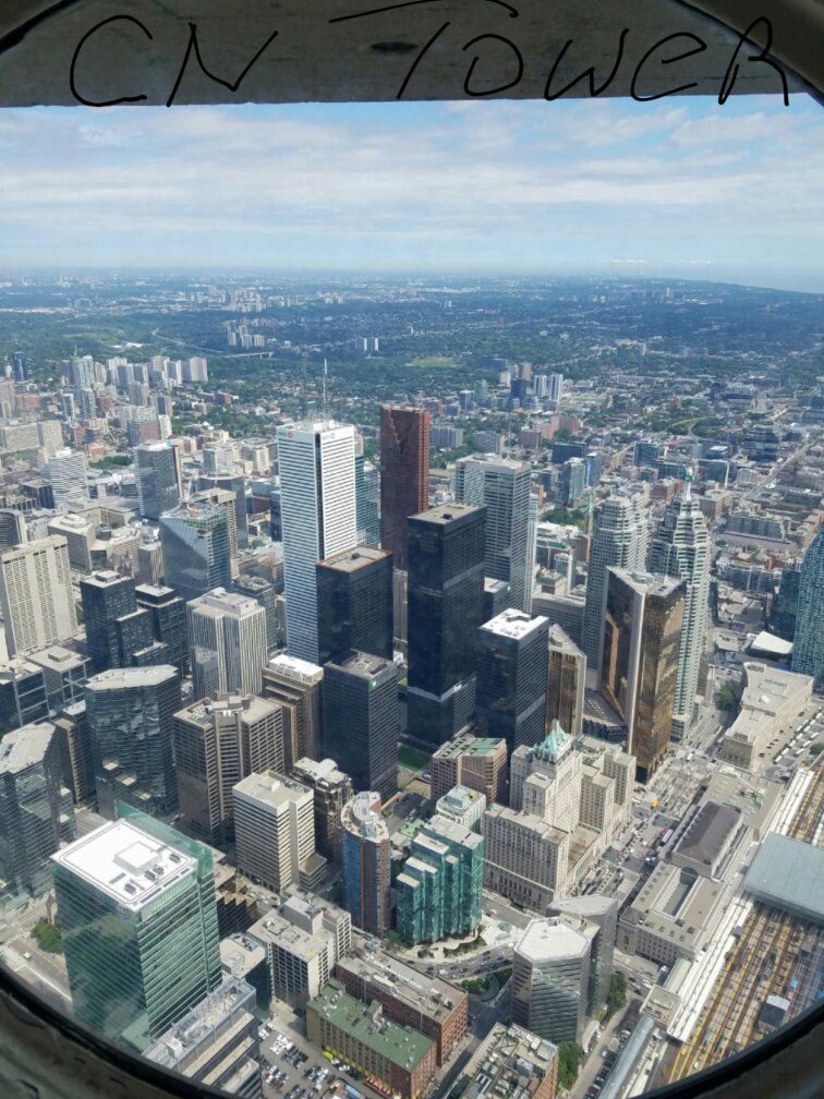 Looking out of the CN tower at 1465 feet