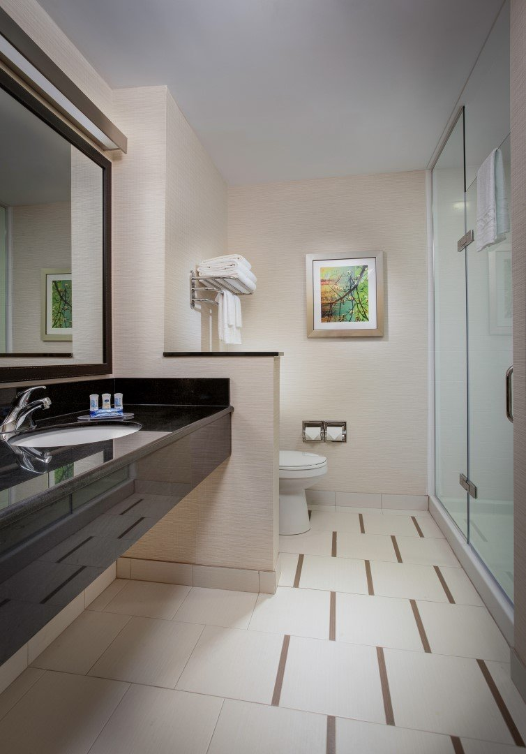 Our bathrooms feature thoughtful amenities in a modern bath design.