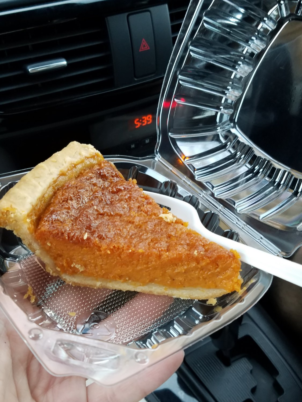 A slice of Mommie Helen's Sweet Potato Pie!