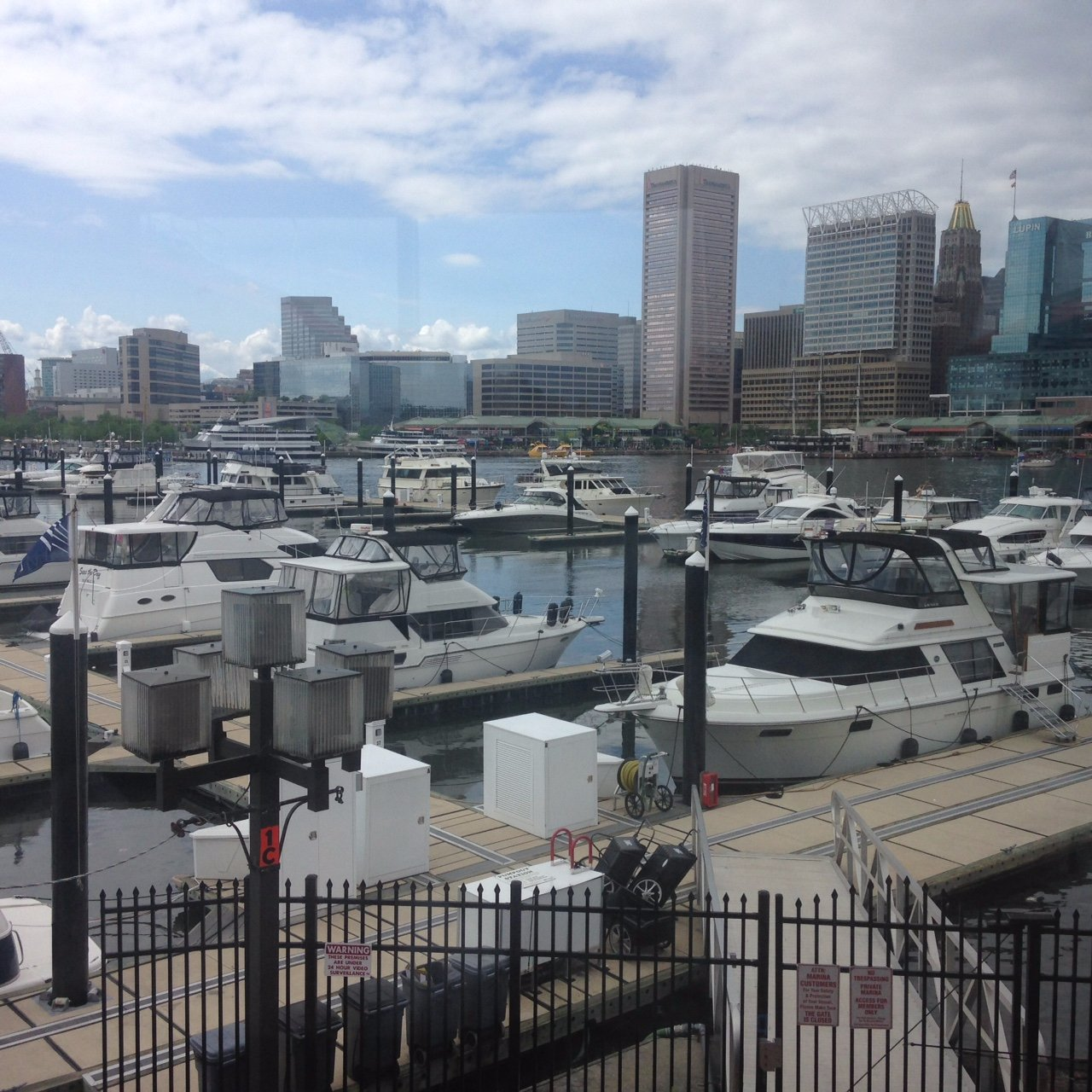 The Baltimore skyline on a gorgeous Saturday, backdropping the Inner Harbor Marina.
