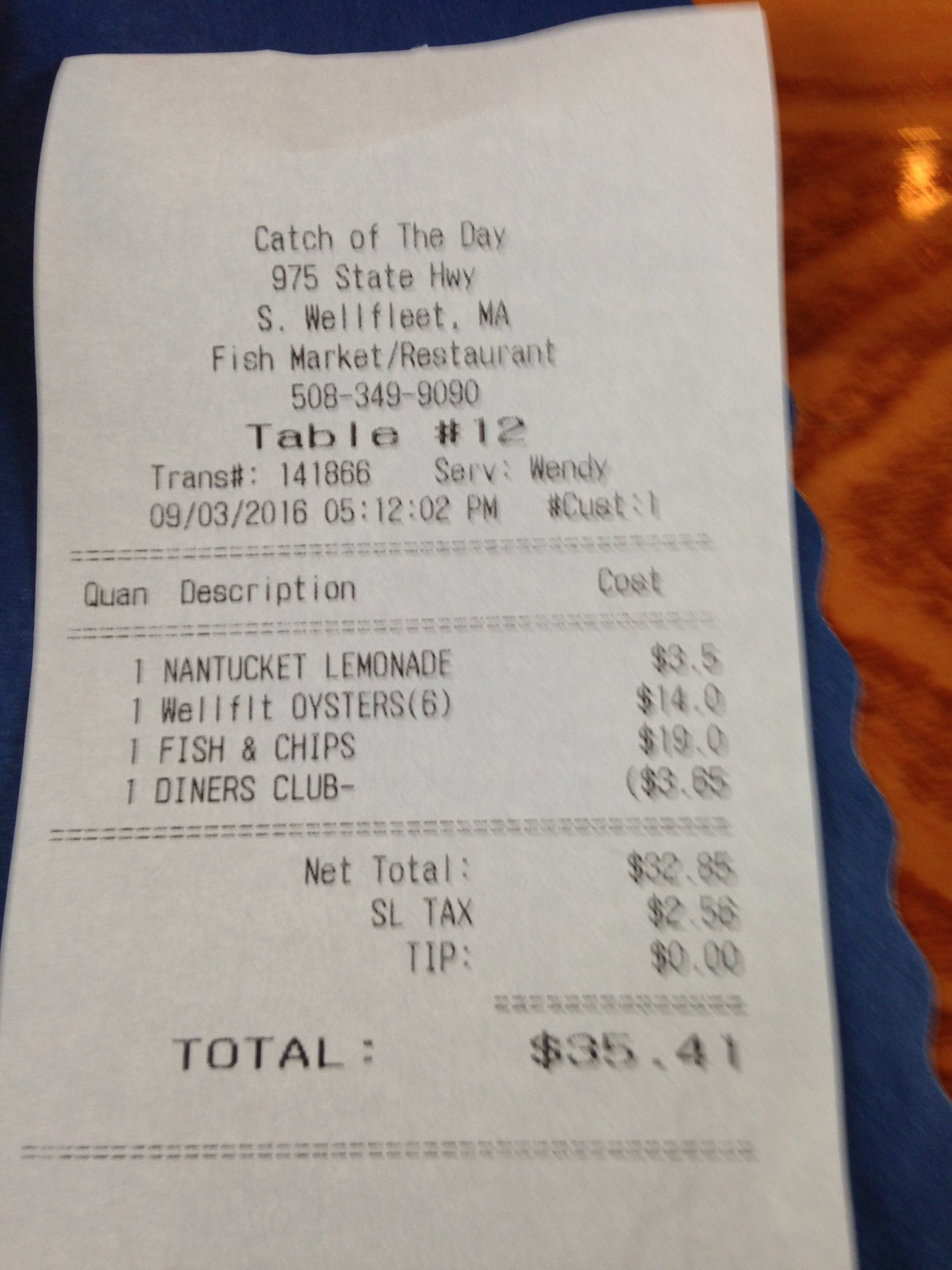 Catch of the Day Seafood Market Grill Wellfleet Menu Prices
