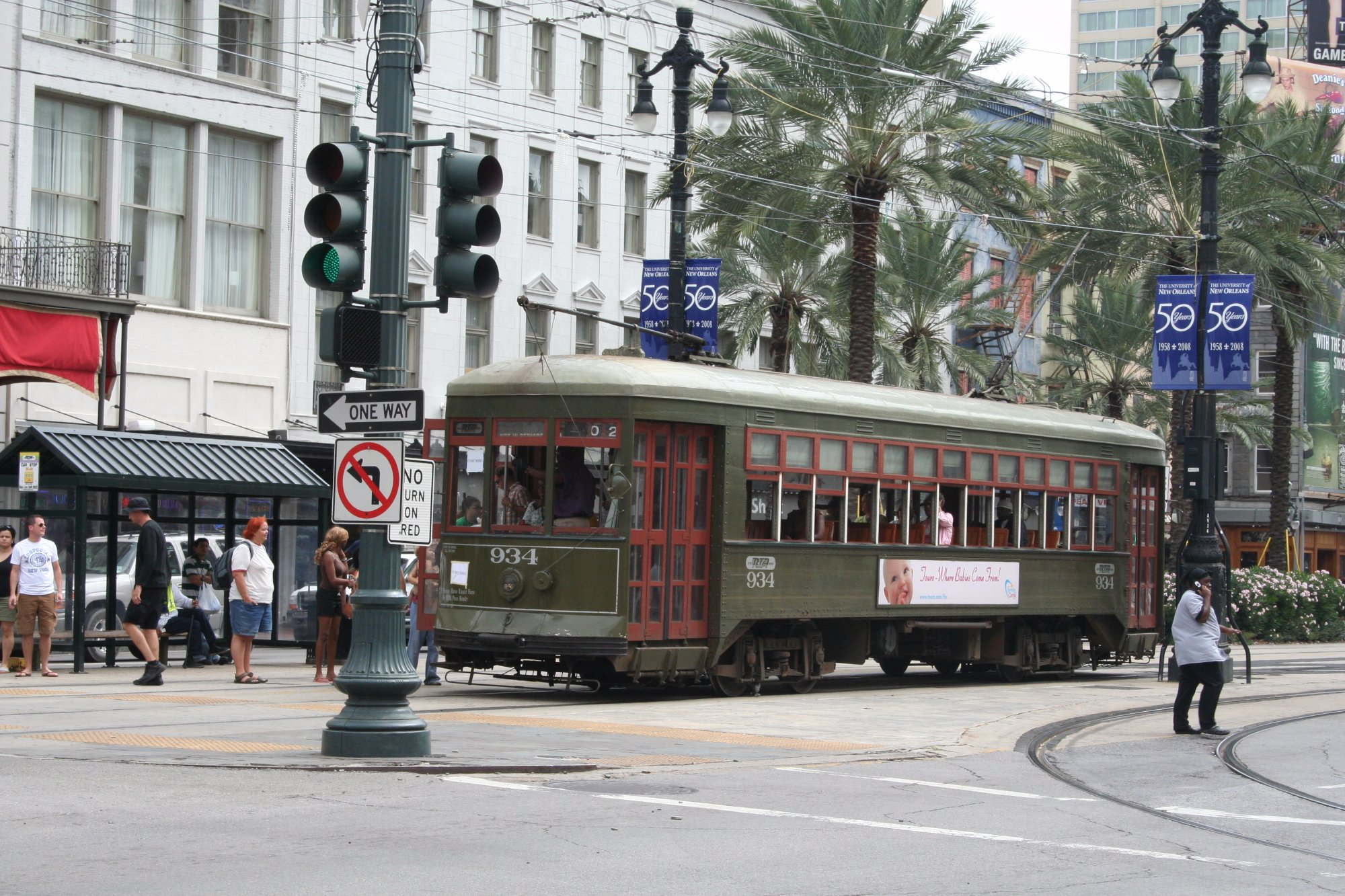 New Orleans tram near Bourbon Street