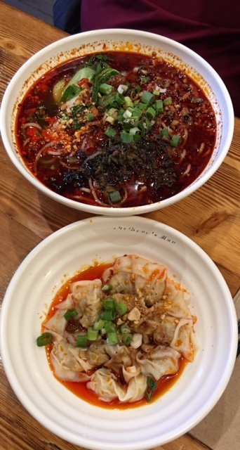 Top; Hot and Spicy Noodle ; Spicy Won Ton