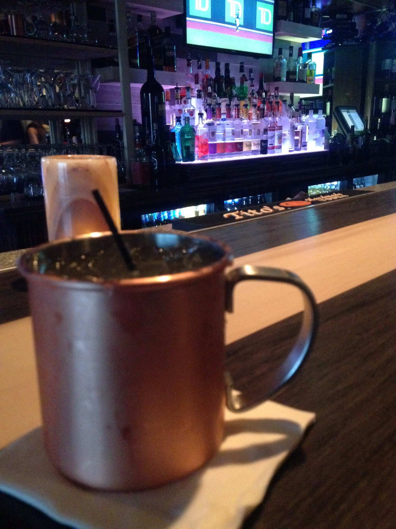 Moscow Mule at the bar before dinner