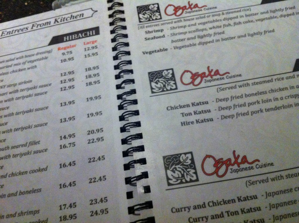 Osaka japanese cuisine cordova menu prices for Akina japanese cuisine menu